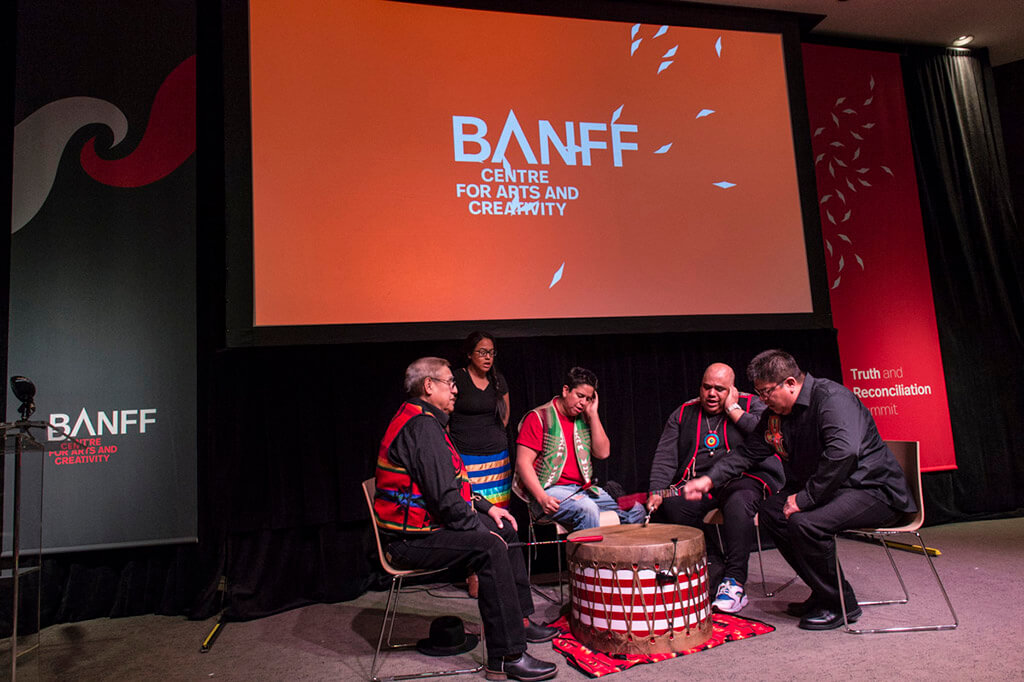 Opening song by Eya Hey Nakoda at the Truth and Reconciliation Summit. (Photo courtesy Banff Centre)