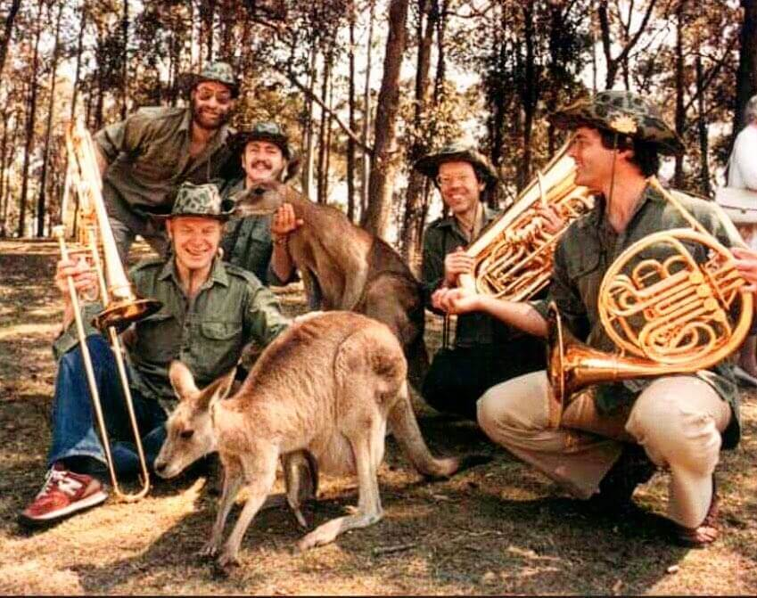 The Canadian Brass held a sort of instrumental petting zoo in the 1980s (Photo via canadianbrass)