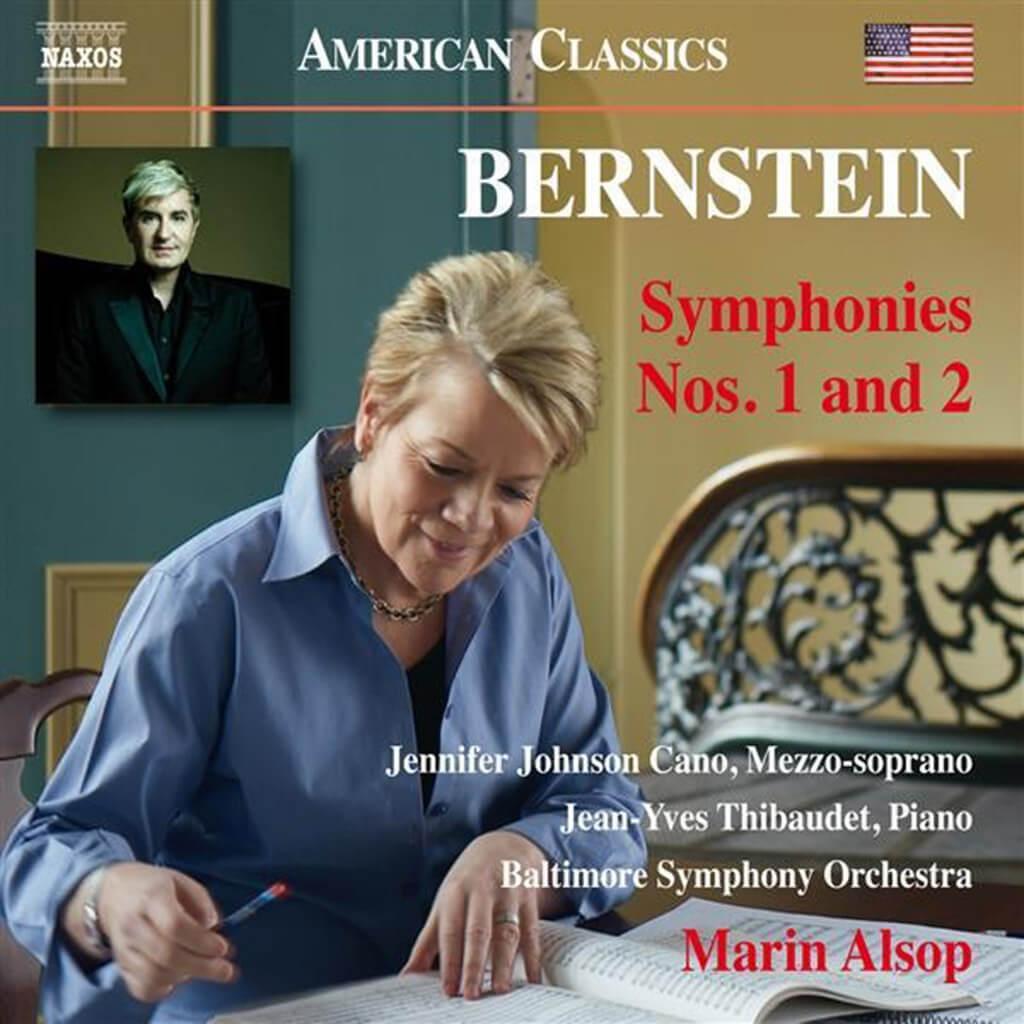 """Bernstein: Symphony No. 1 """"Jeremiah""""* & Symphony No. 2 """"The Age of Anxiety""""**. Jennifer Johnson Cano, mezzo-soprano*. Jean-Yves Thibaudet, piano**. Baltimore Symphony/Marin Alsop. Naxos 8.559790. Total Time: 59:32."""