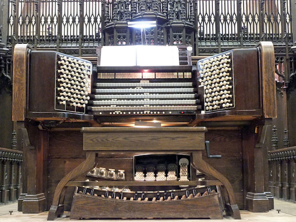 The 5 manual, 120-stop organ console at Metropolitan United Church. (Photo: John Terauds)