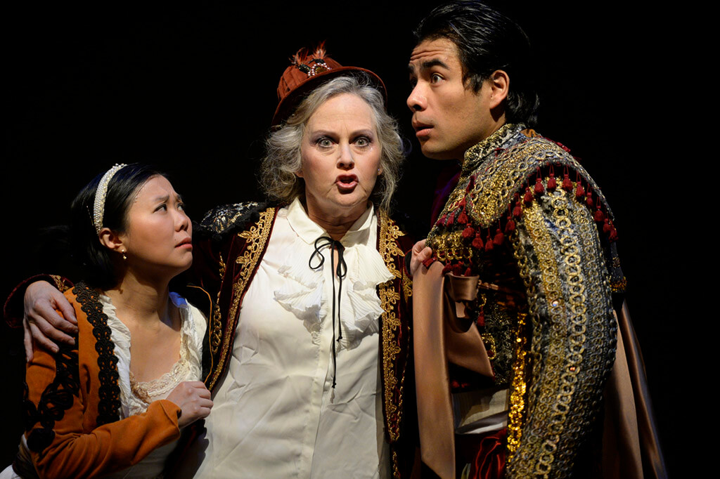 (l-r) Vania Chan (Cunegonde), Elizabeth Beeler (Old Lady), and Tonatiuih Abrego (Candide) (Photo: Gary Beechey)