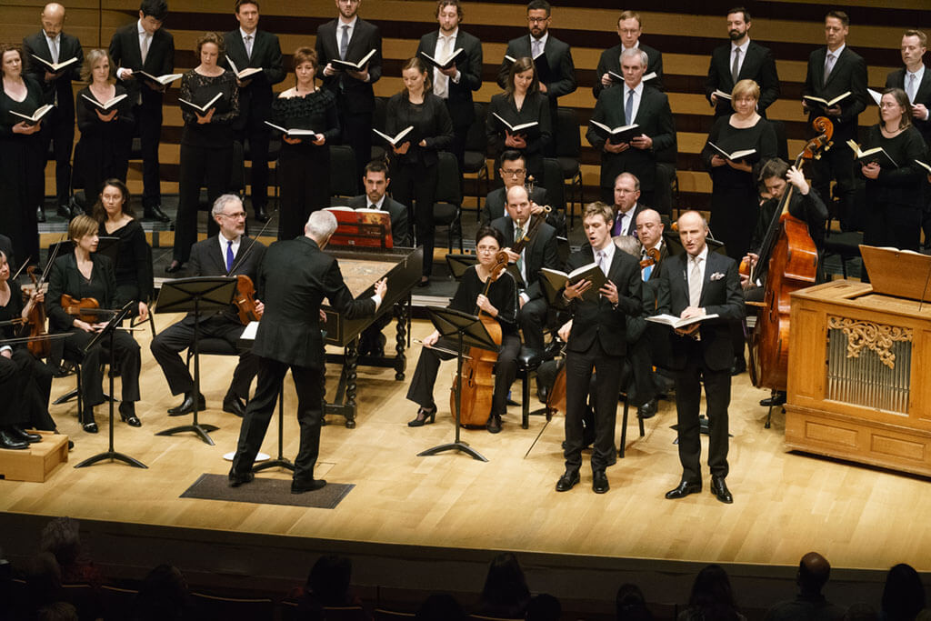 Tafelmusik Baroque Orchestra and Chamber Choir directed by Ivars Taurins, with soloists Simon Honeyman, countertenor (left) and Rufus Müller, tenor. (Photo: Jeff Higgins)