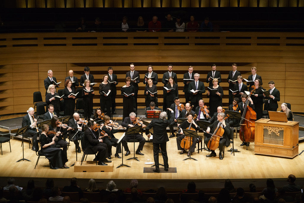 Tafelmusik Baroque Orchestra and Chamber Choir directed by Ivars Taurins. (Photo: Jeff Higgins)