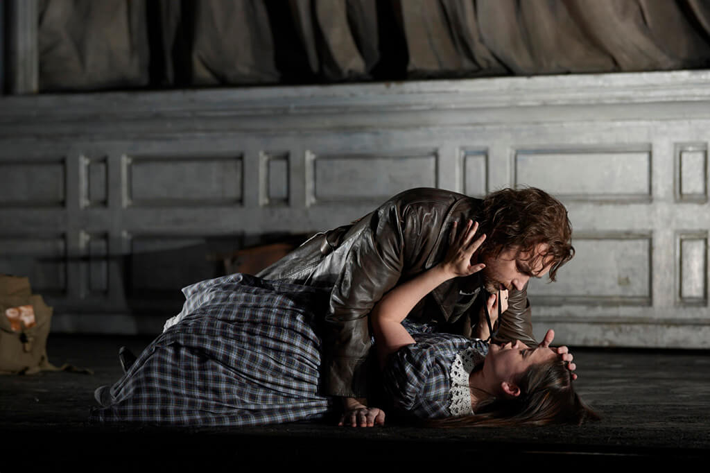 Stephen Costello as Edgardo and Anna Christy as Lucia in the Canadian Opera Company's production of Lucia di Lammermoor, 2013. Conductor Stephen Lord, director David Alden, associate director Ian Rutherford, set designer Charles Edwards, costume designer Brigitte Reiffenstuel, original lighting designer Adam Silverman and lighting design re-creator Andrew Cutbush. (Photo: Michael Cooper)