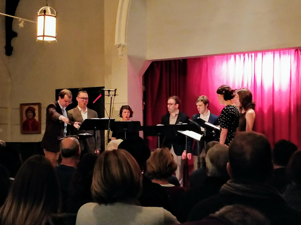 Opus 8 with Robert Busakiewicz (conductor) at Heliconian Hall, Toronto. (Photo: John Terauds)
