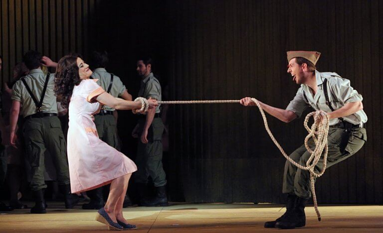 "Nora Sourouzian as Carmen and Gerard Michael D'Emilio as Morales in the Minnesota Opera production of ""Carmen."" (Photo: Michel Daniel)"