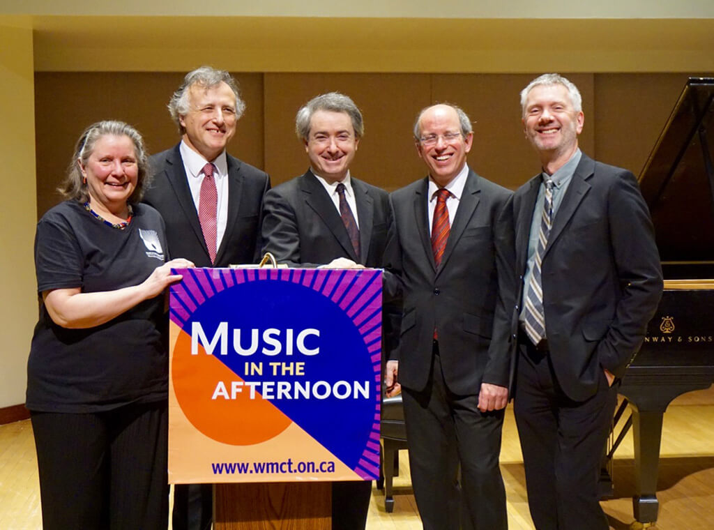 President Diane Martello, Raphael Wallfisch, Hagai Shaham, Amon Erez and Artistic Director Simon Fryer (Photo courtesy of WMCT)
