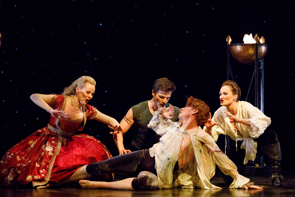 Left to right: Carla Huhtanen (Fortuna), Douglas Williams (Time), Isaiah Bell (Human Frailty), and Meghan Lindsay (Cupid). Photo: Bruce Zinger)