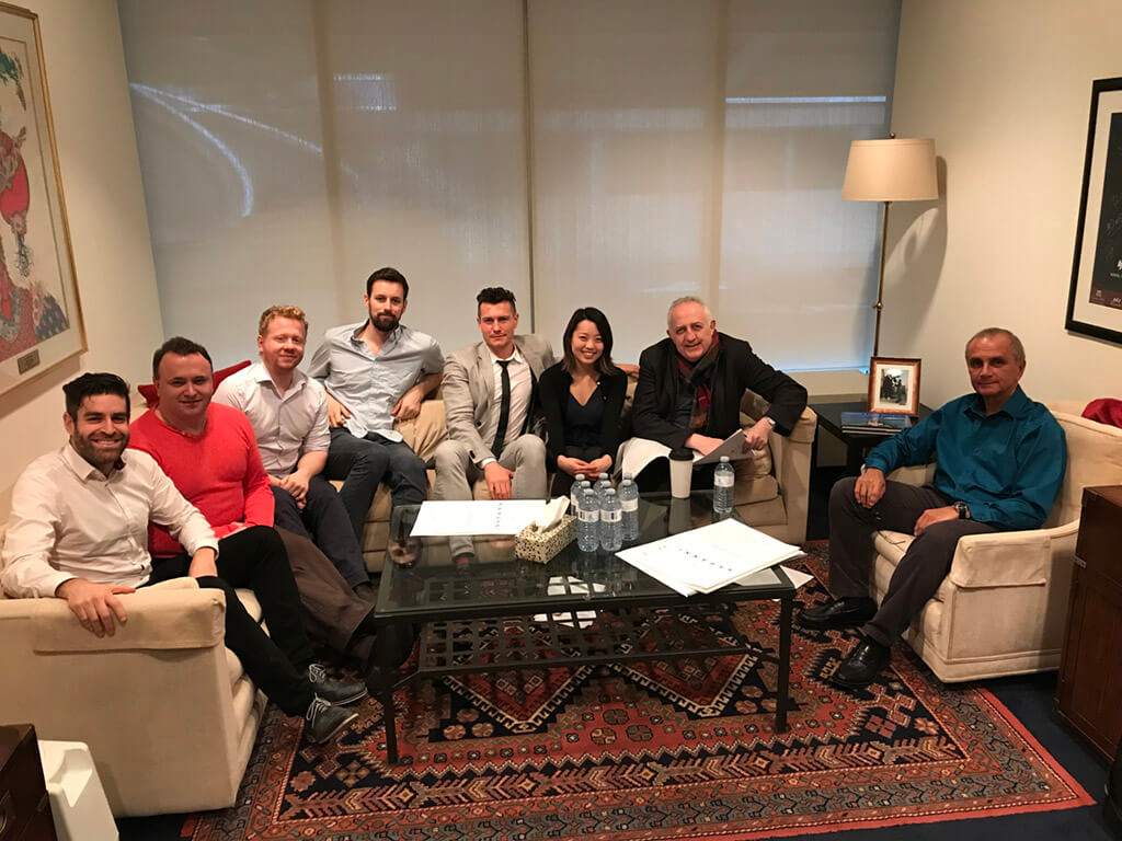 (L-R) Jordan Pal, Richard Mascall, Steven Webb, Jonathan Goulet, Dustin Peters, Alice Hong, Bramwell Tovey, and Gary Kulesha. (Photo: Jordan Pal)
