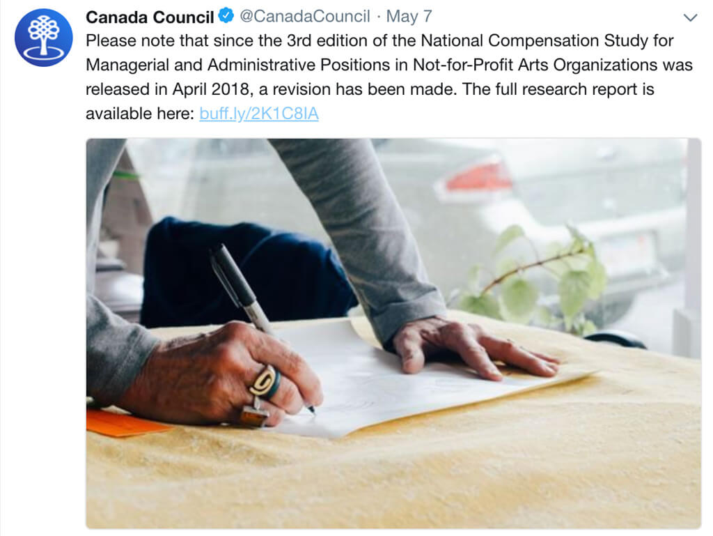 The Canada Council for the Arts posted an update on their social media channels on May 7, 2018 after a revision was made to the 2017 National Compensation Study.