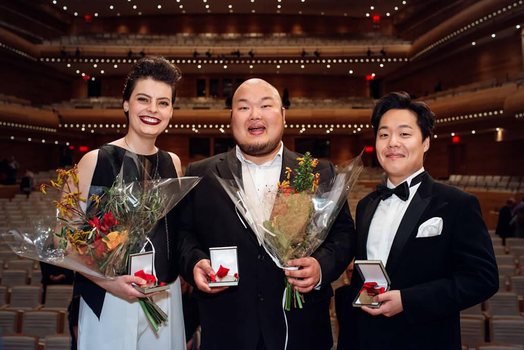 (l. to r.) Emily D'Angelo, mezzo (Canada); Mario Bahg, tenor (South Korea); Konstantin Lee, tenor (South Korea) (Photo: Tam Lan Truong)
