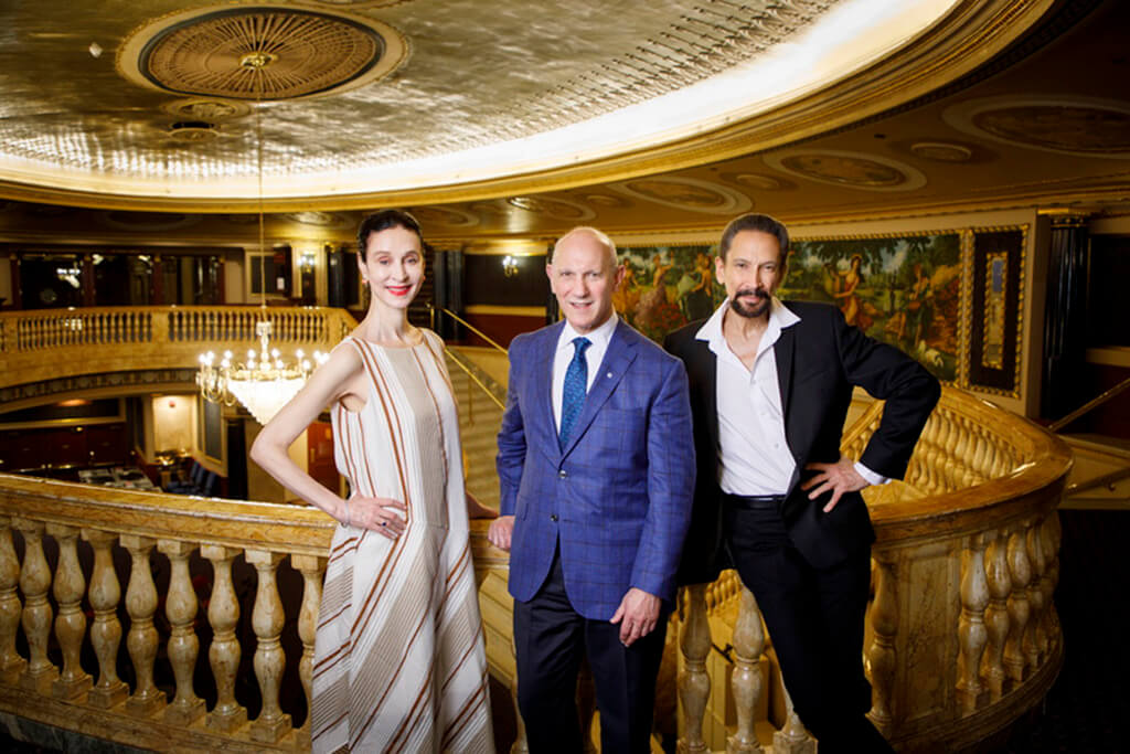 Opera Atelier Co-Artistic Directors Jeannette Lajeunesse Zingg and Marshall Pynkoski pose with David Mirvish (centre) at the Ed Mirvish Theatre. (Photo: Bruce Zinger)