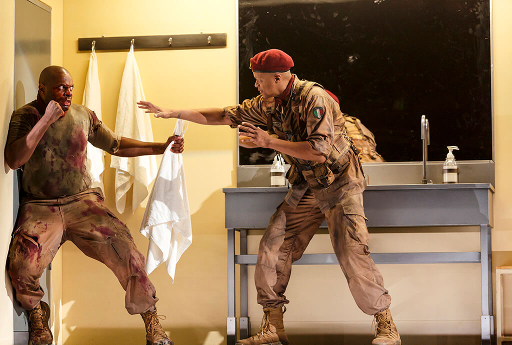 André Sills (left) as Coriolanus and Michael Blake as Cominius in Coriolanus. (Photo: David Hou)