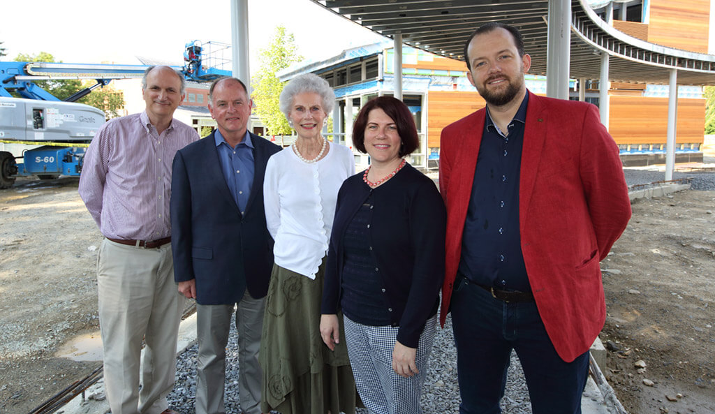 (L-R) Mark Volpe, Tony Fogg, Susan Paine, Sue Elliott, and Andris Nelsons at the TLI construction site (Photo: Hilary Scott)