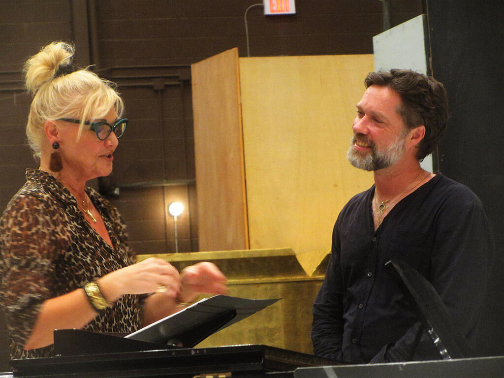Karita Mattila and Rufus Wainwright chat over the score of Hadrian.