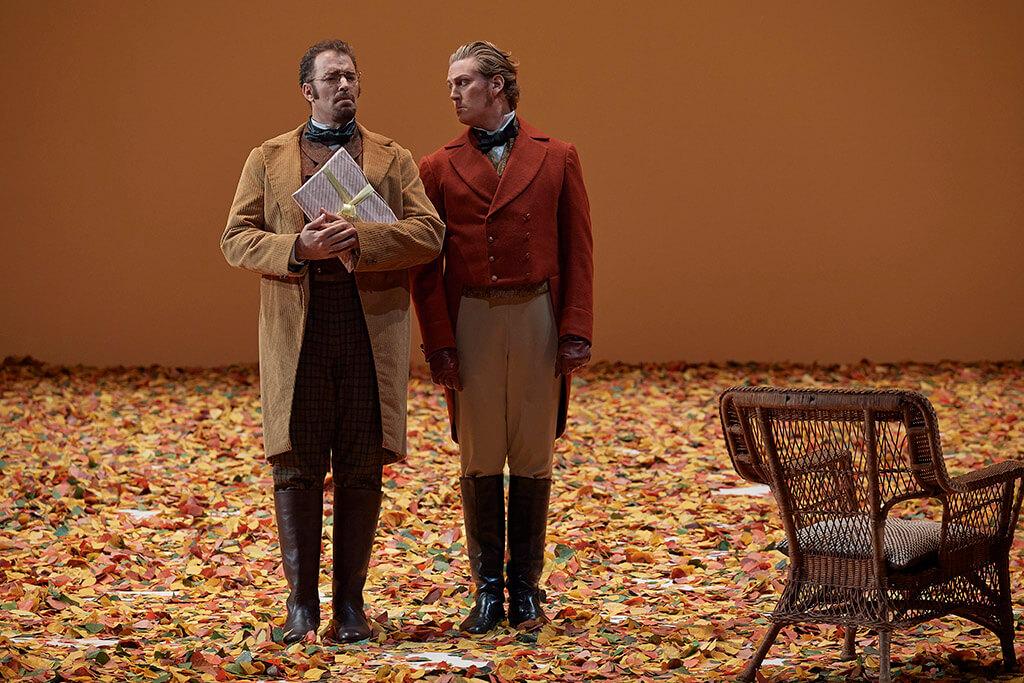 (L-R) Joseph Kaiser as Lensky and Gordon Bintner as Eugene Onegin (Photo: Michael Cooper)
