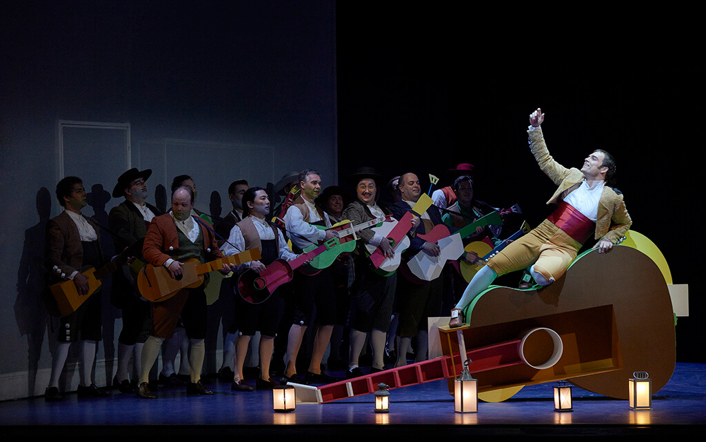 Alek Shrader as Count Almaviva (far right) in the Canadian Opera Company production of The Barber of Seville, 2015, (Photo: Michael Cooper)