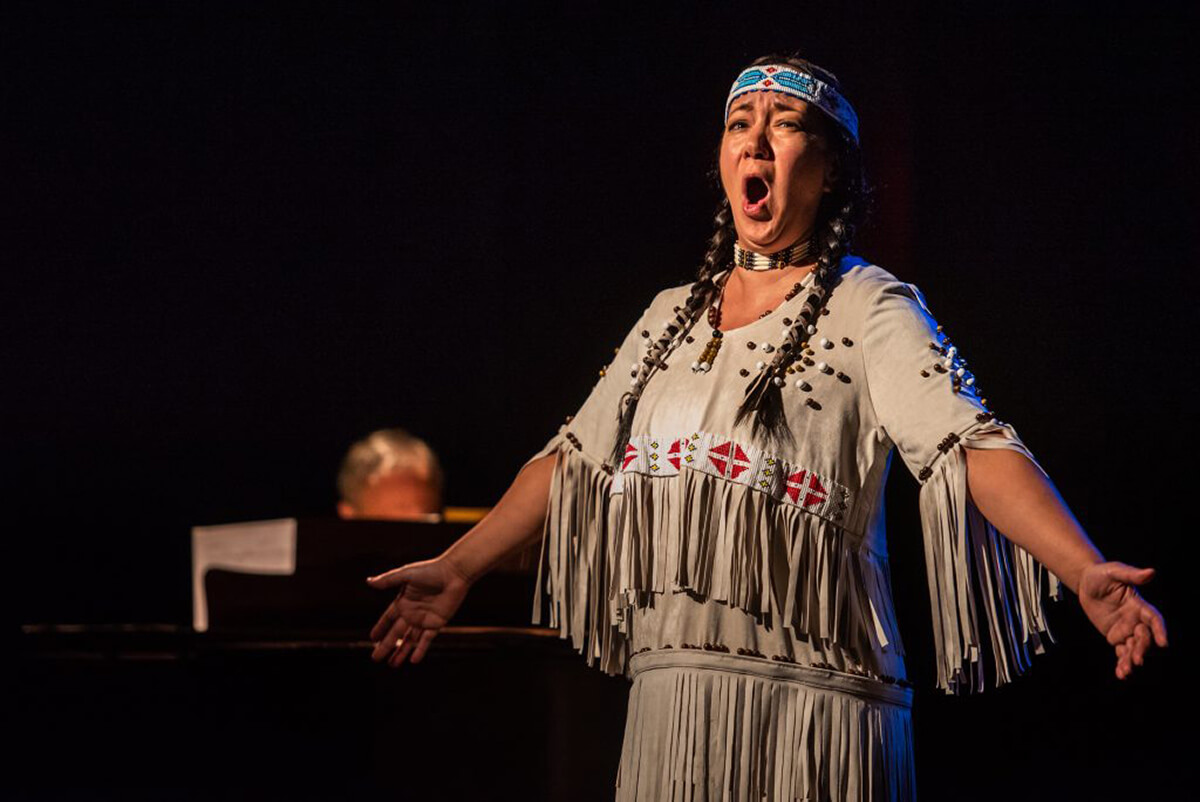 Marion Newman as Tsianina Redfeather. (Photo: Dahlia Katz)