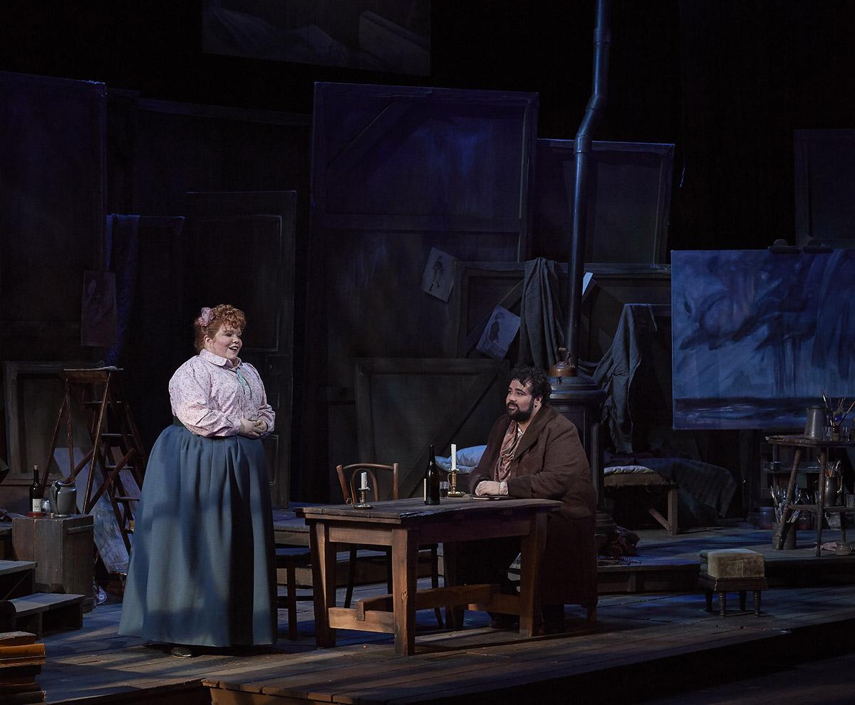 Lauren Margison as Mimì and Andrew Haji as Rodolfo in the Canadian Opera Company's production of La Bohème (Opera for Toronto, 2019) (Photo: Michael Cooper)