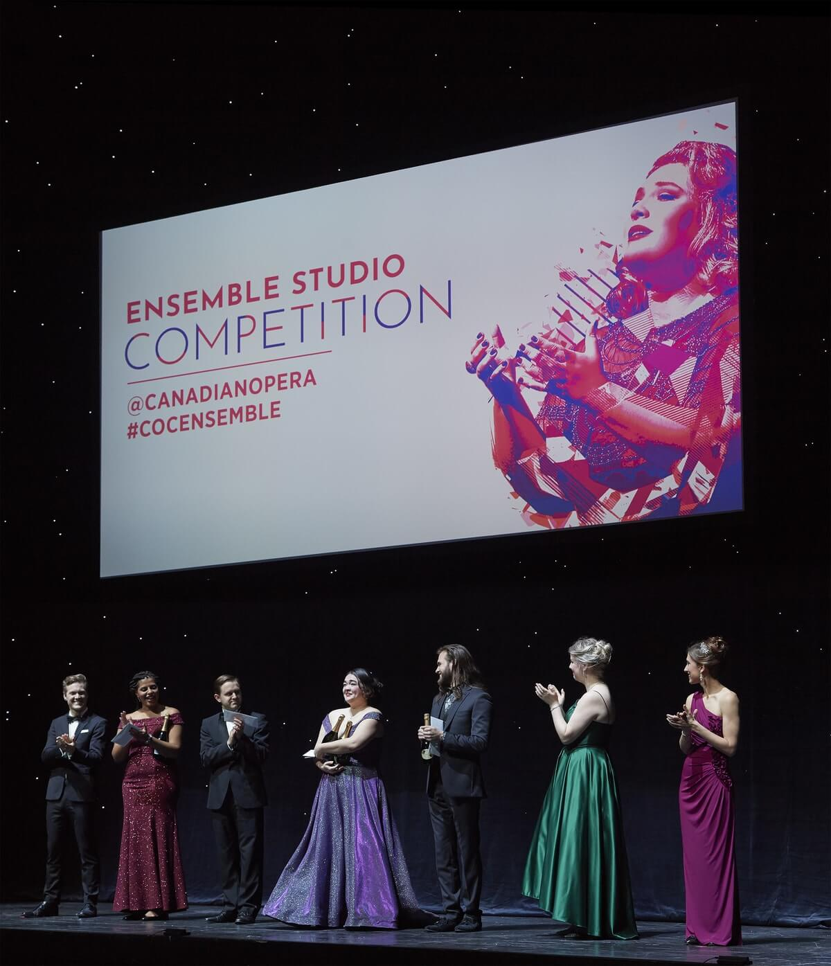 First Prize and Audience Choice Award winner soprano Midori Marsh (centre) with Ensemble Studio Competition finalists, 2019.