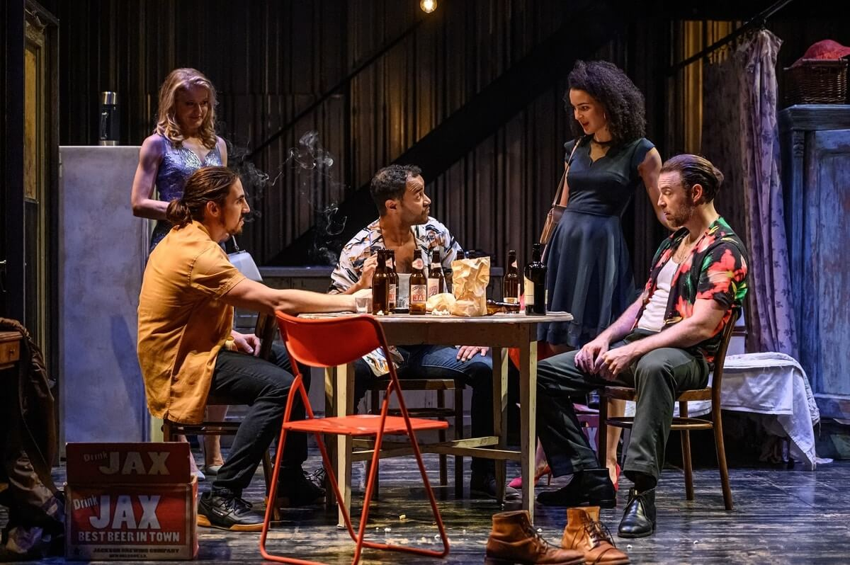 Amy Rutherford, Sebastian Marziali, Lindsay Owen-Pierre, Leah Doz, and Mac Fyfe in Soulpepper Theatre's 'A Streetcar Named Desire'