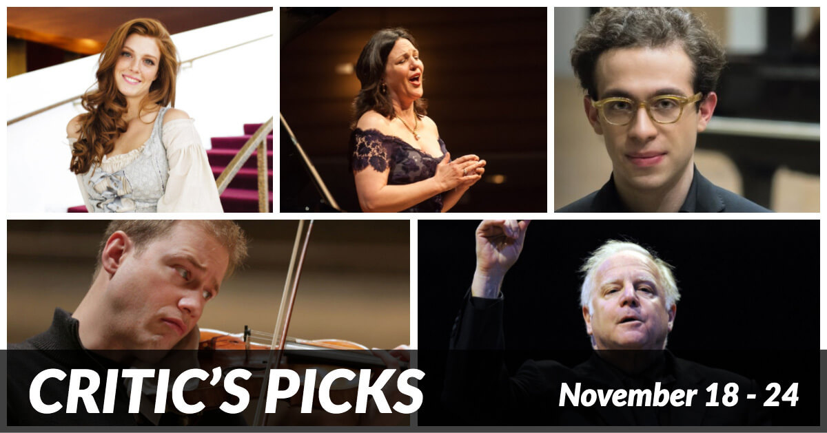 Classical music and opera events happening in and around Toronto for the week of November 18 – 24.