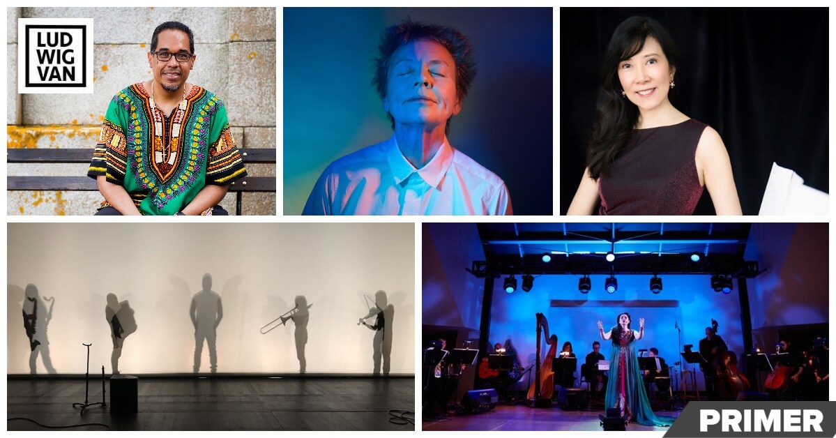Top, l-r: Danilo Pérez, Laurie Anderson, Alice Ping Lee Ho. Bottom, l-r: Against the Grain, Ayre, Philip Sly & Chimera