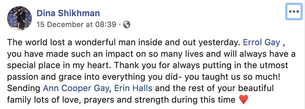 Dina Schikhman reacts to Errol Gay's death