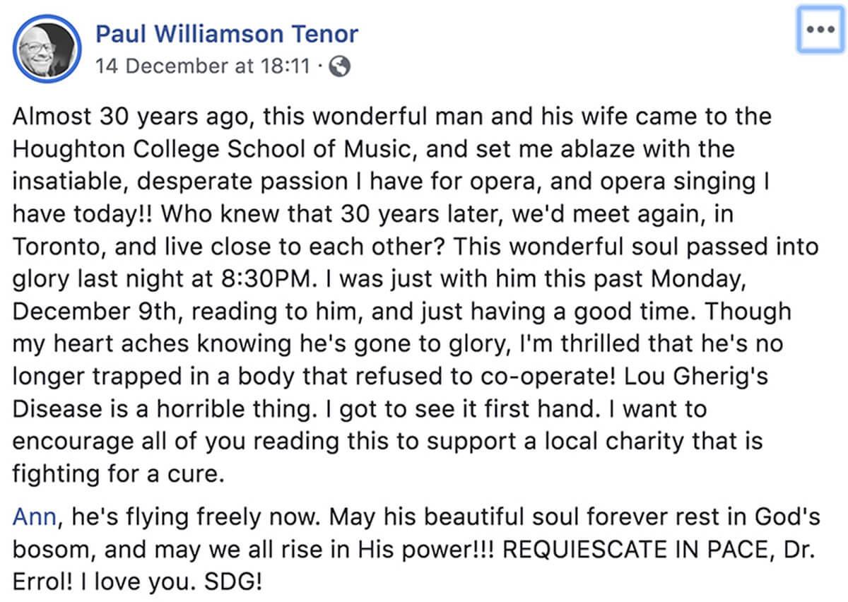 Paul Willamson reacts to Errol Gay's death