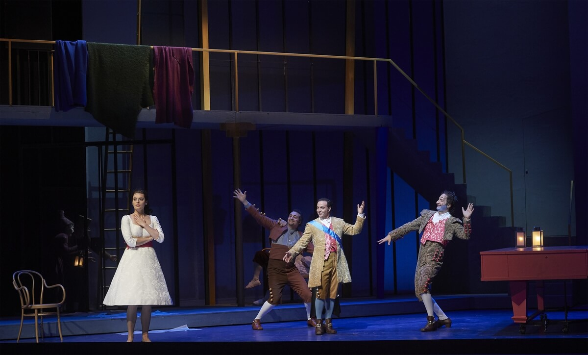 Emily D'Angelo as Rosina, Joel Allison as Fiorello, Santiago Ballerini as Count Almaviva and Vito Priante as Figaro in the Canadian Opera Company's production of The Barber of Seville, 2020 (Photo: Michael Cooper)