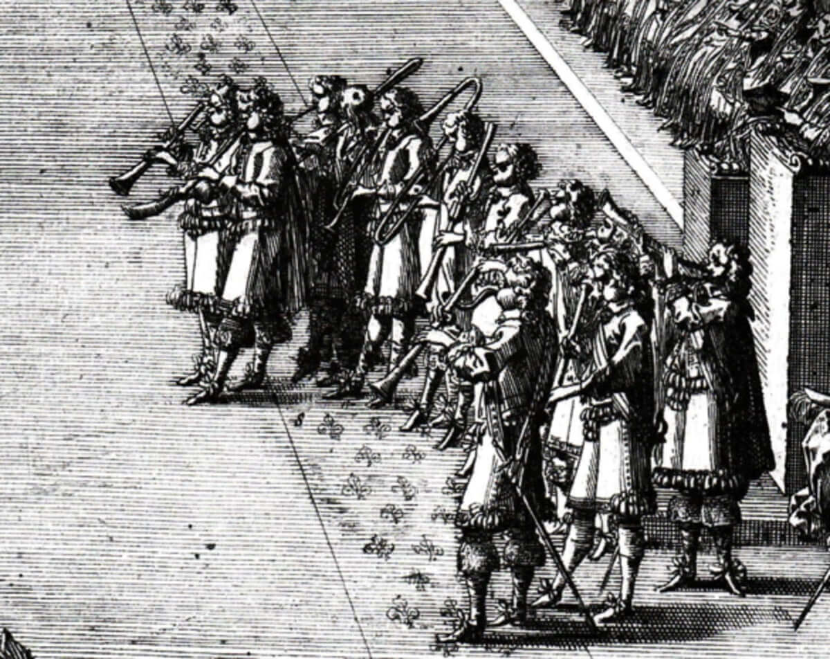 Engraving by Jean Le Pautre depicting the coronation of Louis XIV, detail (public domain image)