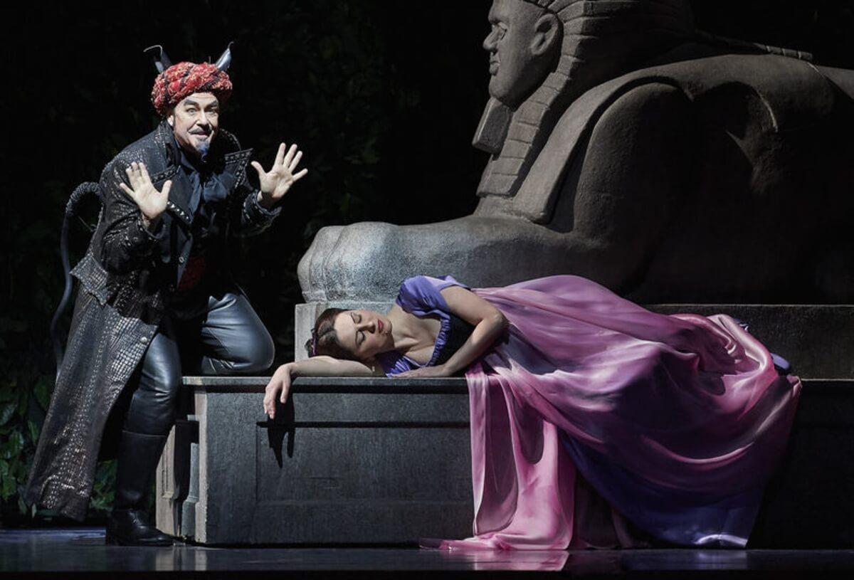 Michael Colvin (Monostatos); Elena Tsallagova (Pamina) COC Die Zauberfloete. (Photo: Michael Cooper)
