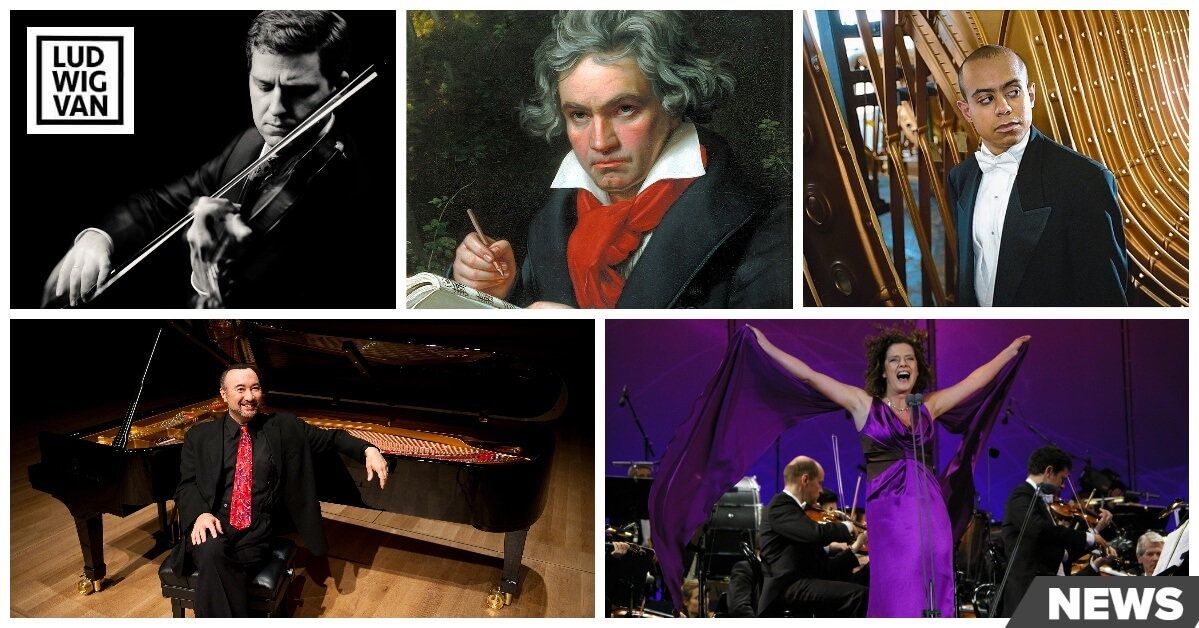 l-r (clockwise fr top): James Ehnes, Beethoven, Stewart Goodyear (photos courtesy of the artists); Jon Kimura Parker (Photo : Tara McMullen); Angelika Kirchschlager at the Wiener Festwochen, 2008, photo by Shervin Sardari (www.stage1.at)