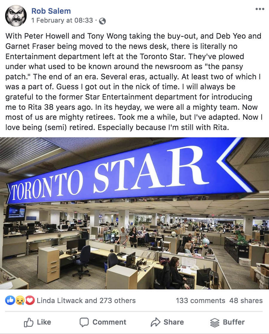 Facebook - Feb 1, 2020 via Former Toronto Star Television Critic, Rob Salem