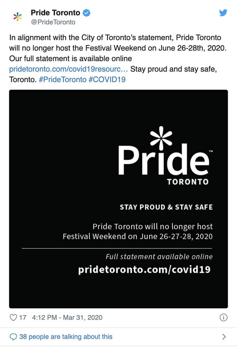 Tweet from Gay Pride organizers