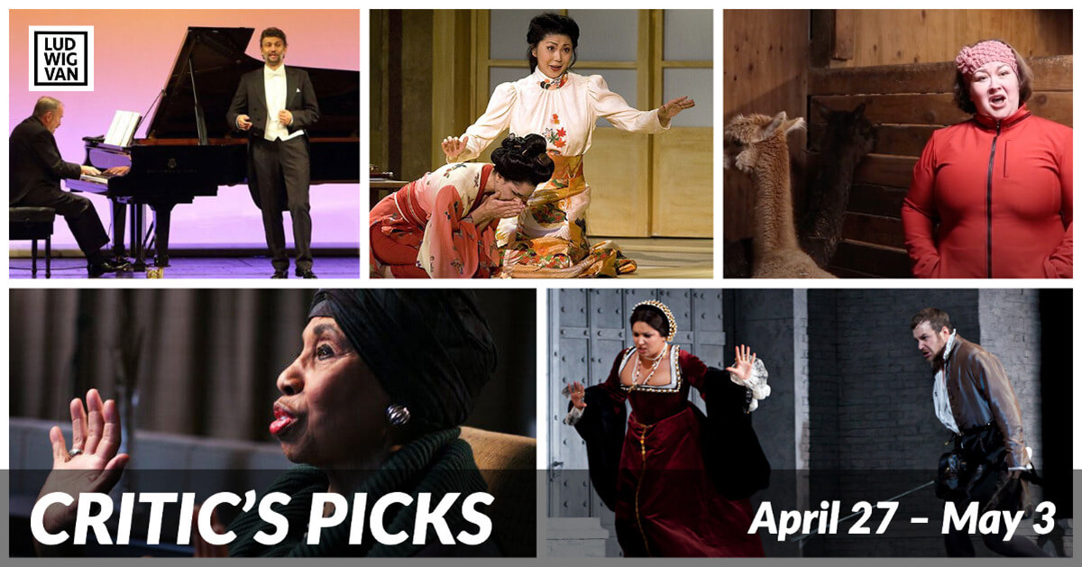 Classical music and opera events streaming on the web for the week of April 20 – May 3.