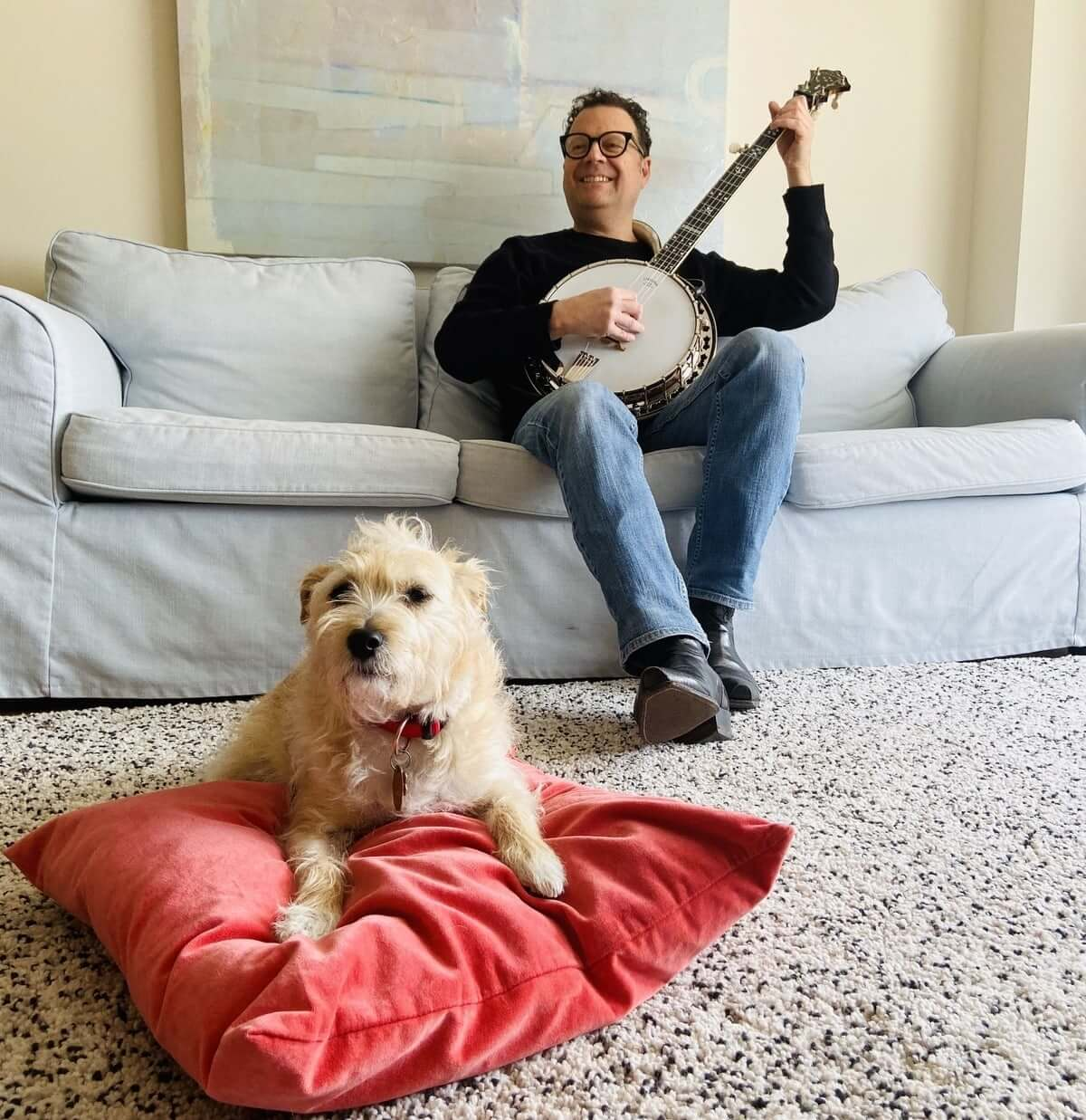 Marco Cera and his dog (Photo courtesy of the artist)