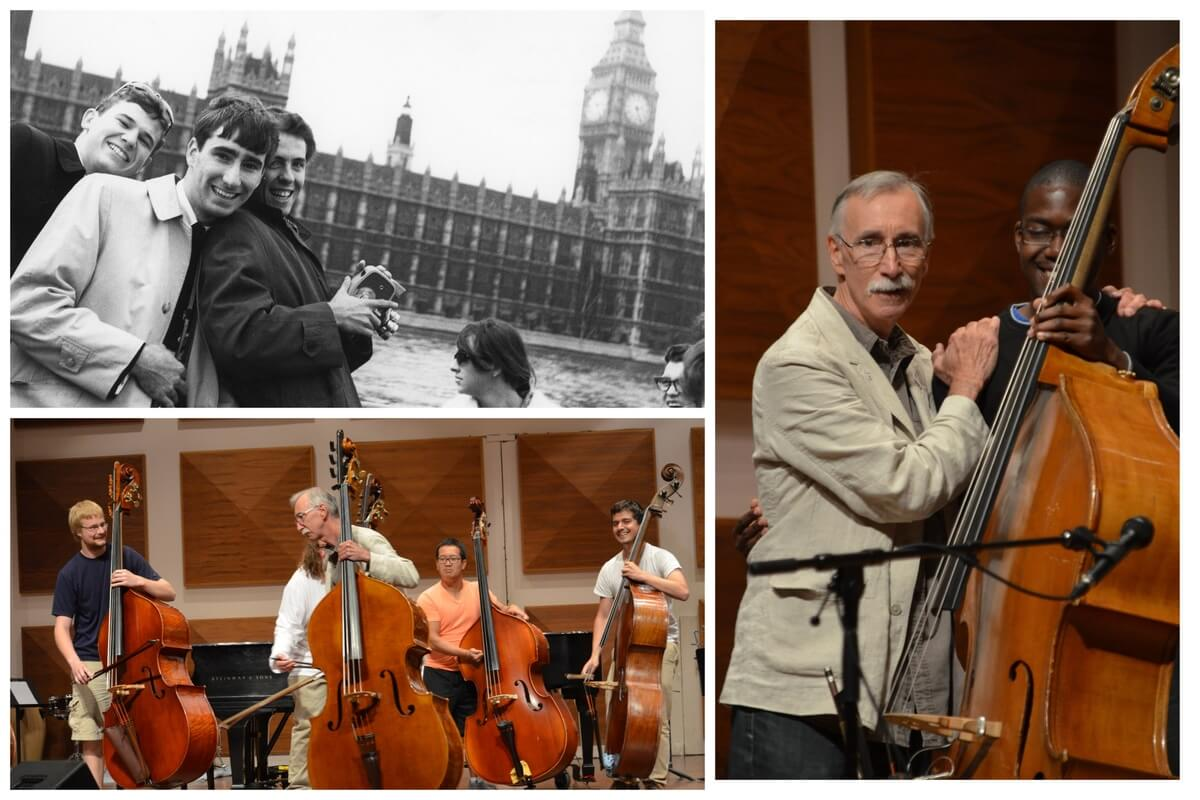 Clockwise from Top Left: 1966 NYOC London Tour: Ed Tait, Gary Kosloski, Michel Zaitzeff; 2013 NYOC Bass- Ed Tait and Brandyn Lewis, 2013 NYOC Bass- Malcolm Armstrong, Ed Tait, Jonathan Yeoh, Maximilian Mauricio-Cardilli (Photos courtesy of NYOC).