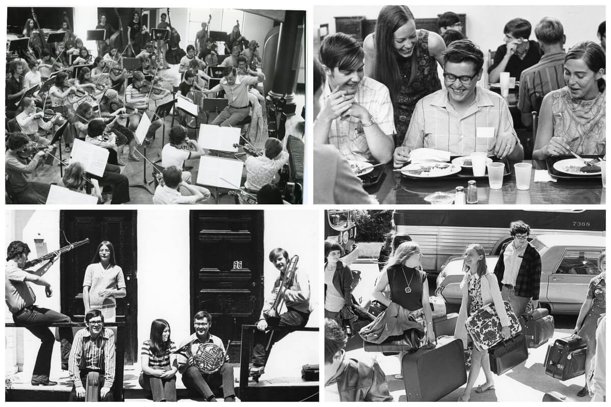 Clockwise from Top Left: 1970s rehearsal with Marius Constant; 1960's Burwash Hall — University of Toronto meal time; 1960's arrival by bus 1971 NYOC Casual — Harcus Hennigar, Bill Harrison, Ken Bingham, Gwen Dunlop. (Courtesy of NYOC)