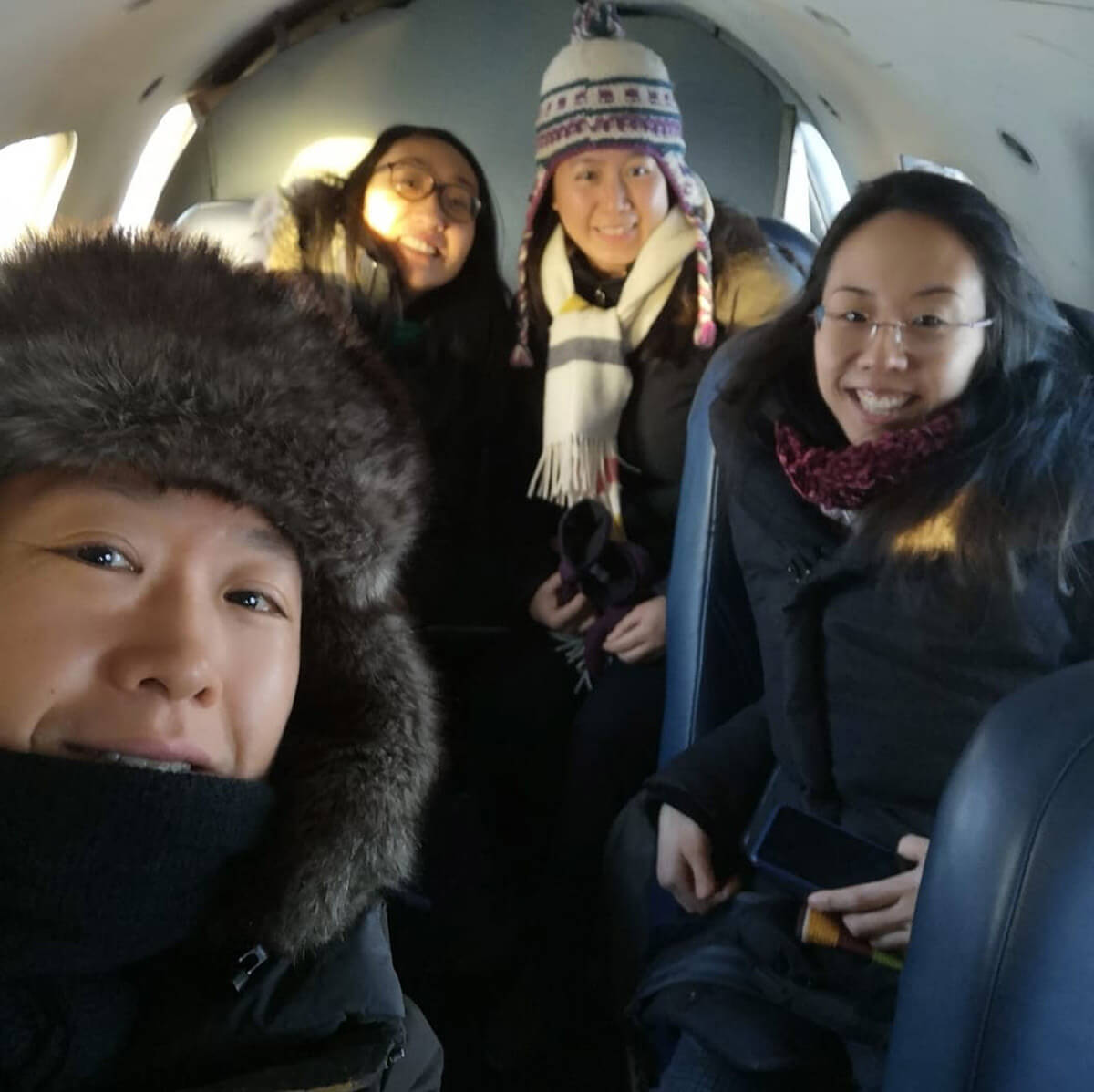 EMIC on plane from Norway House during Tour January/February 2019 (Photo courtesy of Ensemble Made in Canada)