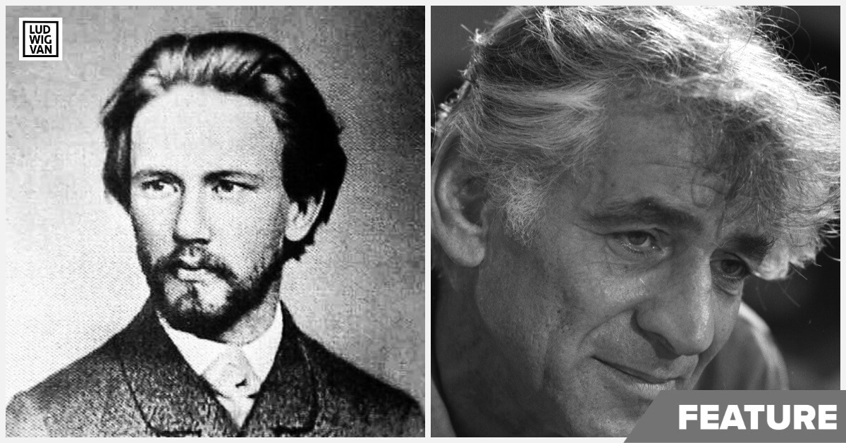Pyotr Ilyich Tchaikovsky (1840–1893) – pictured in 1874. (Public domain image in Canada & the US {{PD-US-expired}}) & Leonard Bernstein in 1971 (public domain image)