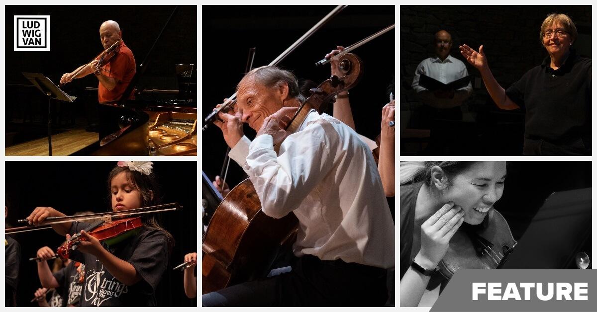 Clockwise from top left: Moshe Hammer, Rolf Gjelsten (centre), Lydia Adams, Kerry DuWors, Strings Across the Sky (Photos: Mark Rash)
