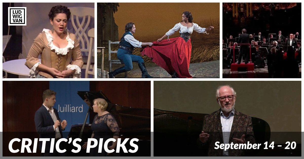 Classical music and opera events streaming on the web for the week of September 14 – 20.