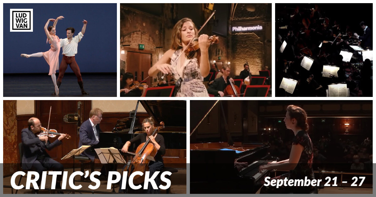 Classical music and opera events streaming on the web for the week of September 21 – 27.