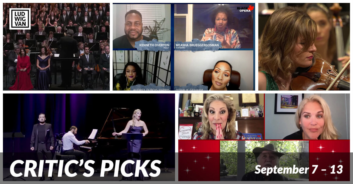 Classical music and opera events streaming on the web for the week of September 7 – 13.