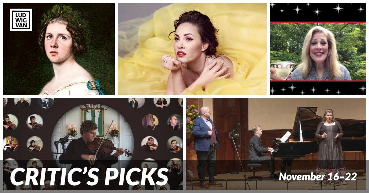 Classical music and opera events streaming on the web for the week of November 16 – 22.