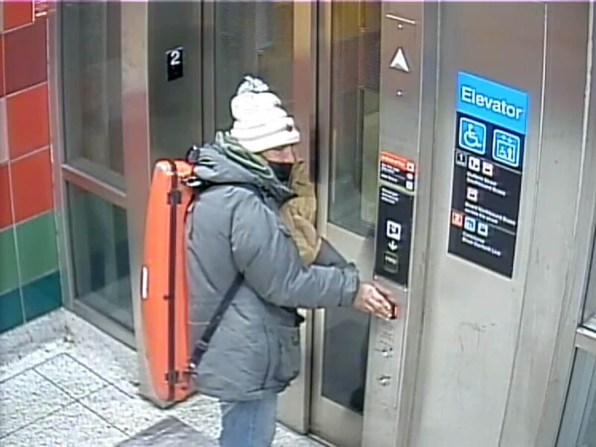 Suspect image captured in connection to missing violin from TTC subway (Photo courtesy of the Toronto Police Service)