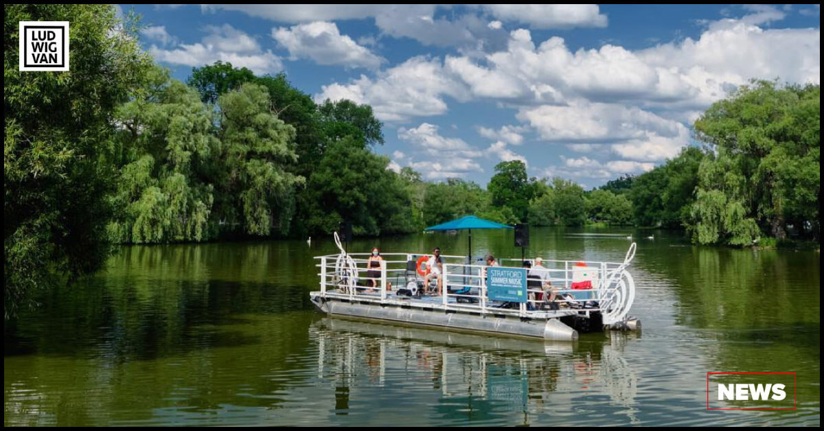 The popular music barge as seen on Stratford's majestic Avon River (Photo courtesy of Stratford Summer Music)