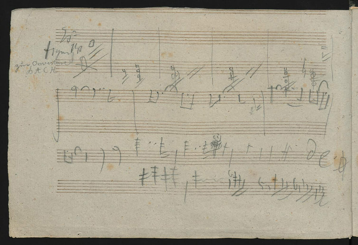 A page of Beethoven's notes for his planned 10th Symphony. (Beethoven House Museum, CC BY-SA)